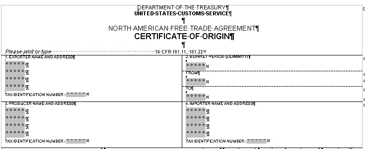 partial view of the nafta certificate of origin form