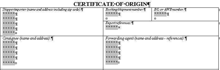 Certificate Of Origin Form